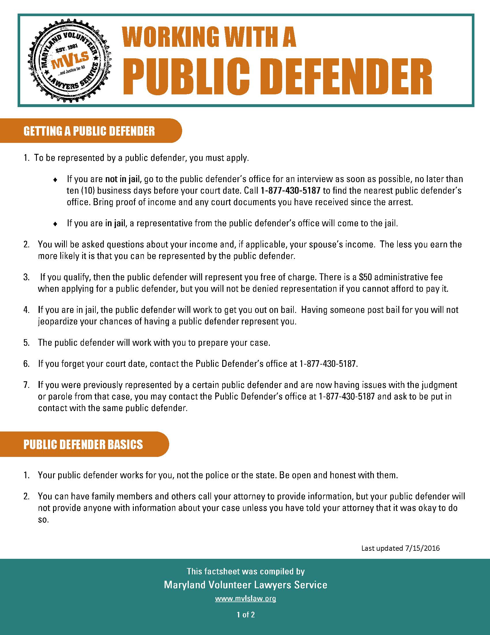 Working with a Public Defender