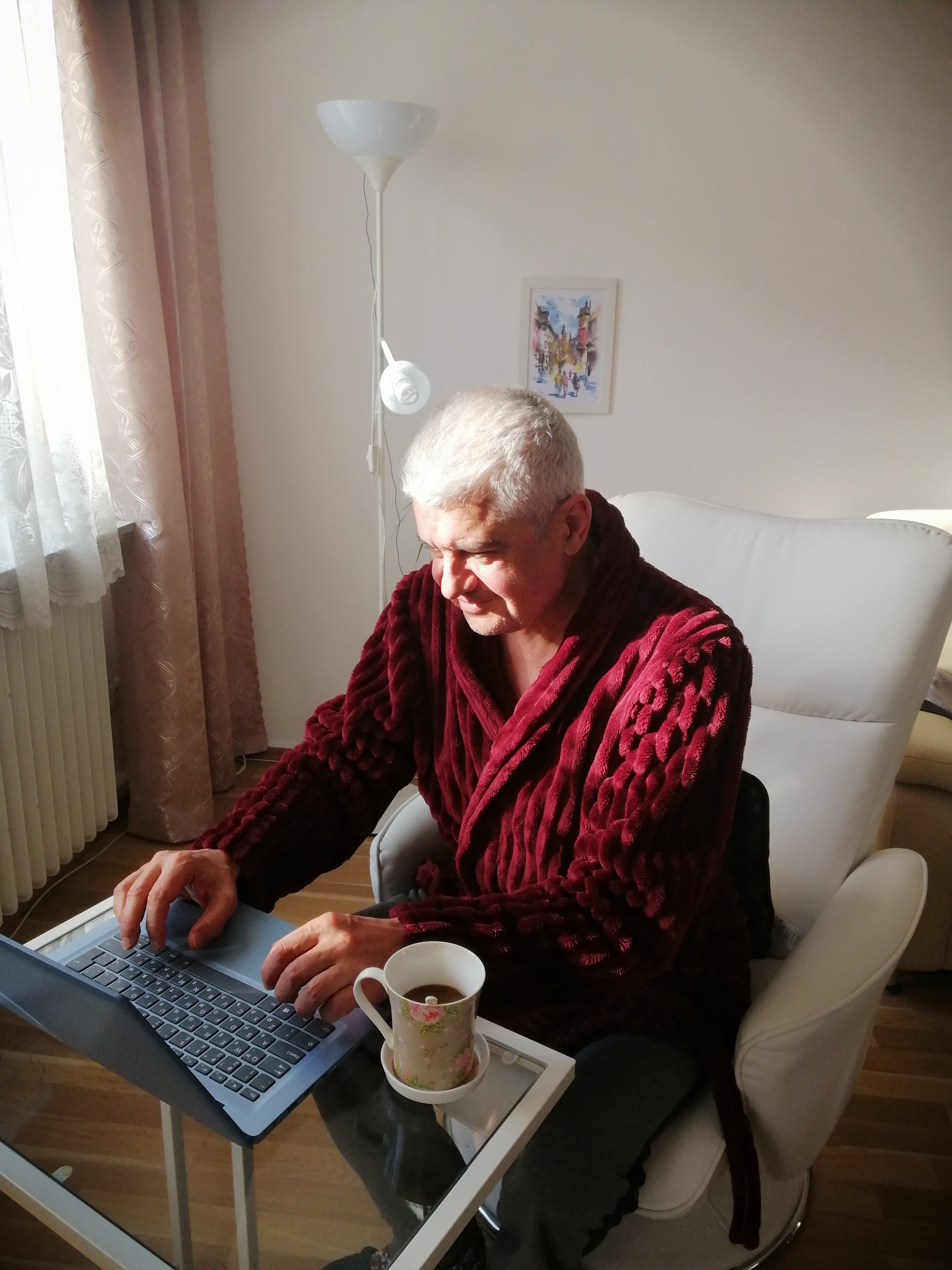Older adult using a computer